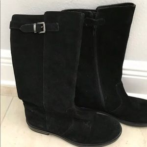 Girls LANDS END suede Black Boots NEW